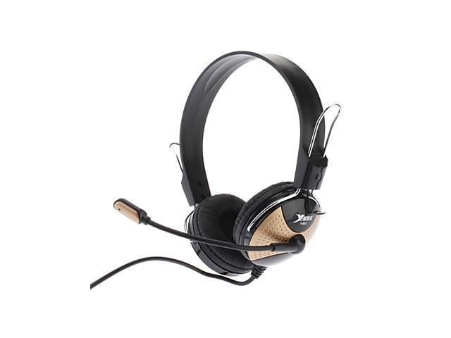 Ergonomics Design Noise-cancelling Hi-fi Speaker Omnidirectional Stereo Headset for Game and Movie (Black&Gold)