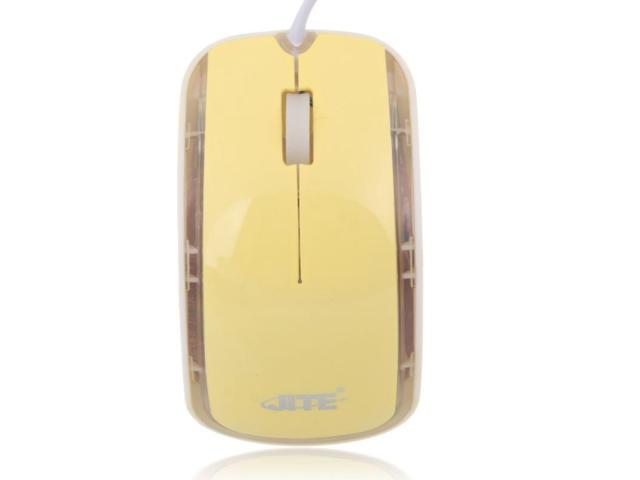 USB High Precision Wired Optical Scroll Wheel Mouse Faint Yellow