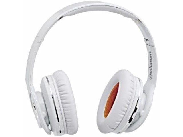 NEW MANHATTAN WHITE FATHOM BLUETOOTH WIRELESS FOLDABLE STEREO SOUND HEADPHONES