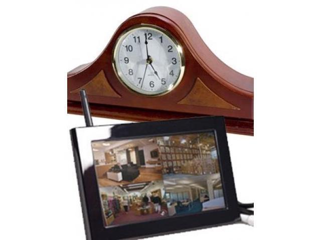 Wireless Hidden Camera 4 Ch. LCD Monitor DVR 4GB SDCard Spy Mantel Clock