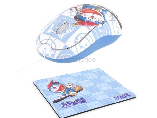 Cute Doraemon USB Scroll Wheel Optical Mouse + Mouse Pad (Blue)