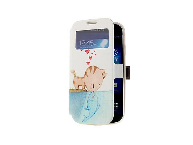 Cat and Fish Pattern Skylight Design PU Leather Pouches for Samsung Galaxy S4 I9500