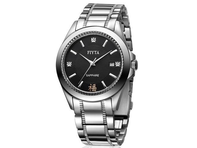 Fiyta brand classic collection male watches--Imported mechanical movement stainless steel black men's watches