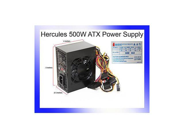 Black Hercules micro ATX 500W Silent Power Supply 20-24pin SATA