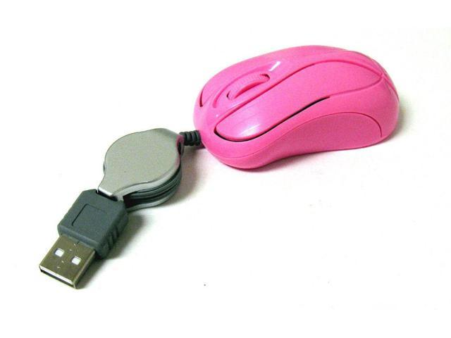 #B Mini Retractable USB Optical Scroll Wheel pink Mouse for PC Laptop/Noteboo?k