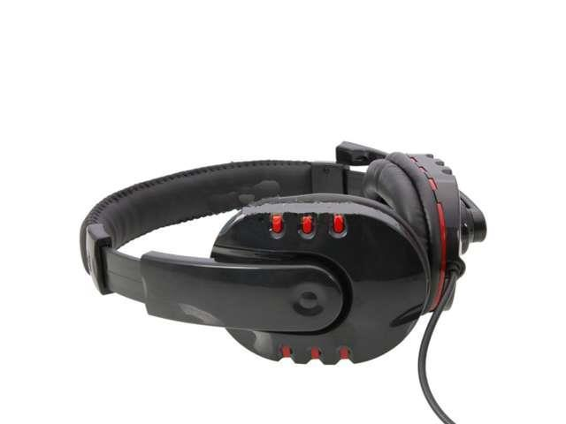 Luxury Leather Headset with Microphone for PS3/PC Plastation 3 Black and Red
