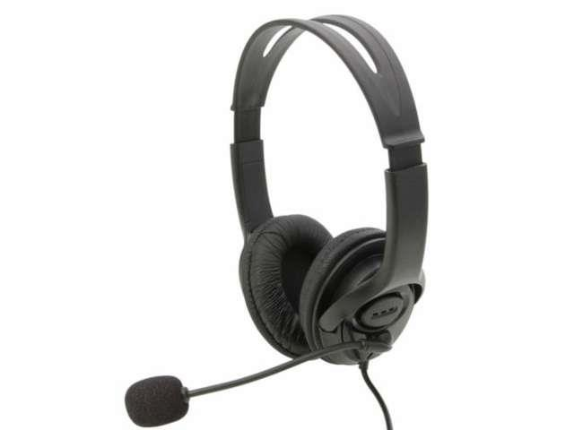 Two-sided Plastic Headset with Microphone 2m Cable for PS3/PC Black