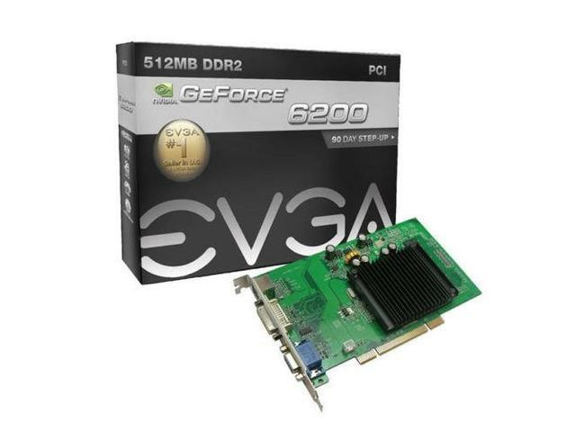 EVGA nVidia GeForce 6200 512MB DVI VGA TV out PCI Video Card
