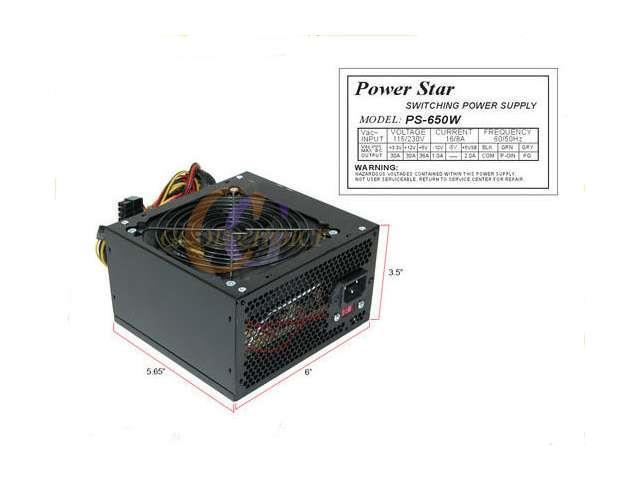 PowerStar Black ATX 12CM Fan 650W Silent Power Supply w/20-24pin SATA PCI-E* NEW