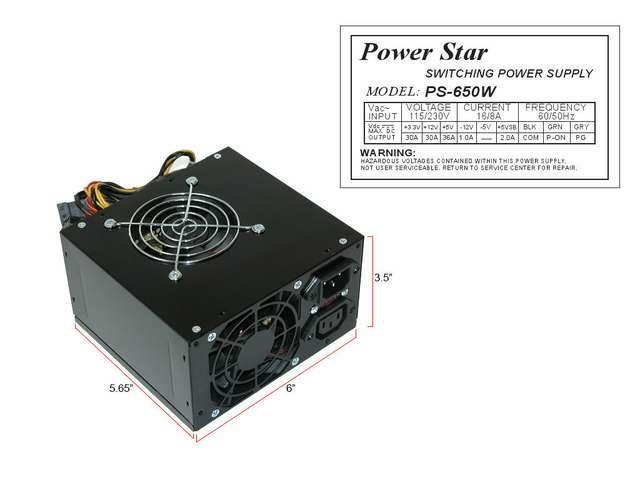 PowerStar Black ATX Dual Fan 650W Silent Power Supply w/20-24pin SATA PCI-E NEW