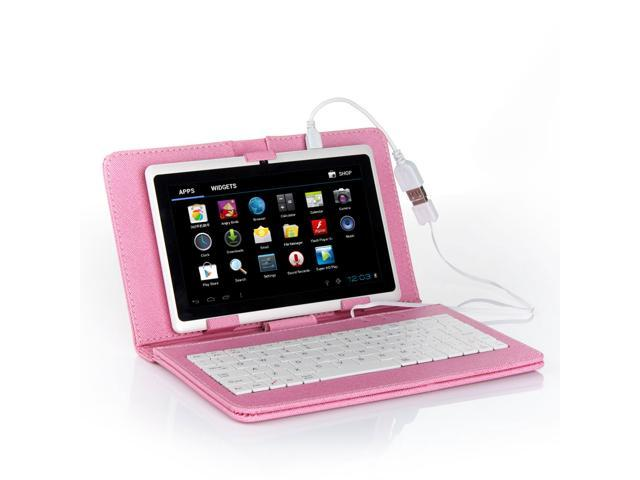 Pink PU Leather Case USB Keyboard for 7