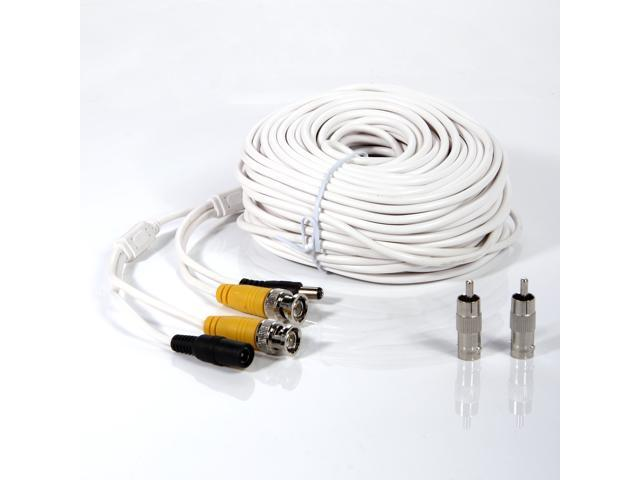 100 ft 30M Security Camera CCTV BNC Video Power Cable Wire Connectors White Cord