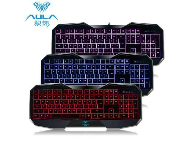 Aula 3 Color interchange LED Backlight USB wired Multimedia illuminated Gaming Keyboard PC