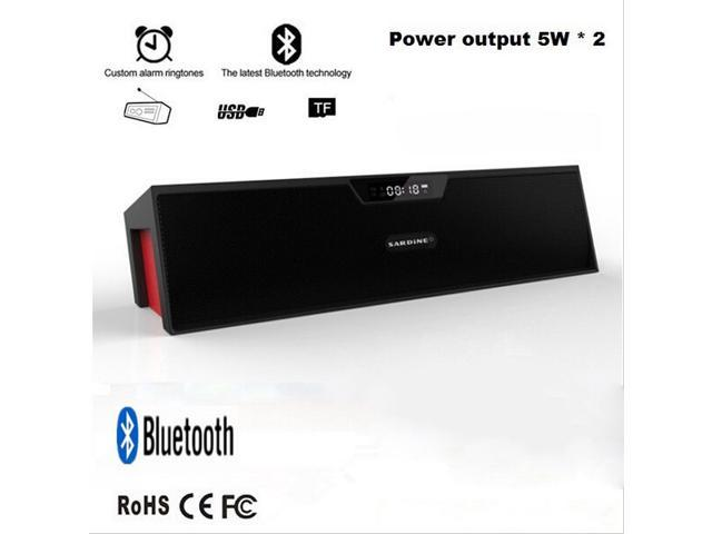10W Powerful Bluetooth Stereo Music Speaker Handsfree Speakerphone with Time/FM Function USB/TF/AUX Port