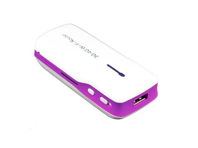 Purple Wireless Router of 3G Mobile Power H-G100 3G/4G Wireless WiFi Router + 5200mAh Power Bank With RJ45 USB Port 3G Wireless Hotspot