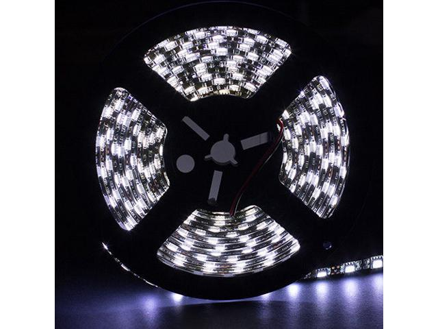SUPERNIGHT 5M 16.4ft 5050 SMD 300 LEDs Cool White Single Color Light Strip Bright Lamp Waterproof 60 LED/M Indoor/Outdoor Black PCB