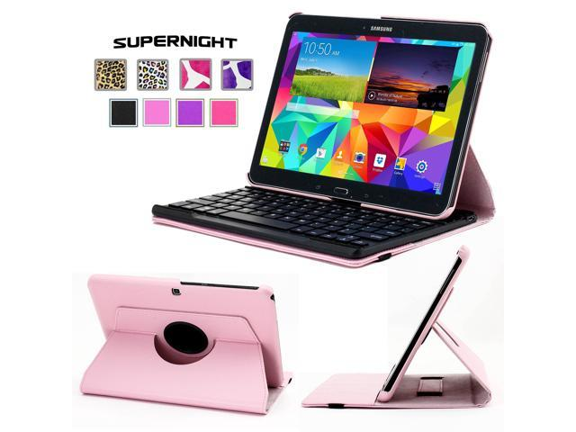 SuperNight® 360 Degree Rotating Leather Stand Cover Case + Detachable Removable Bluetooth Keyboard For Samsung GALAXY Tab 4 10.1 T531 T530 Tablet ...