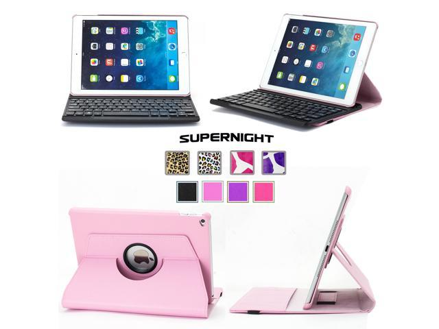 SuperNight® 360 Degree Rotating Leather Stand Cover Case + Detachable Removable Bluetooth Keyboard For 9.7