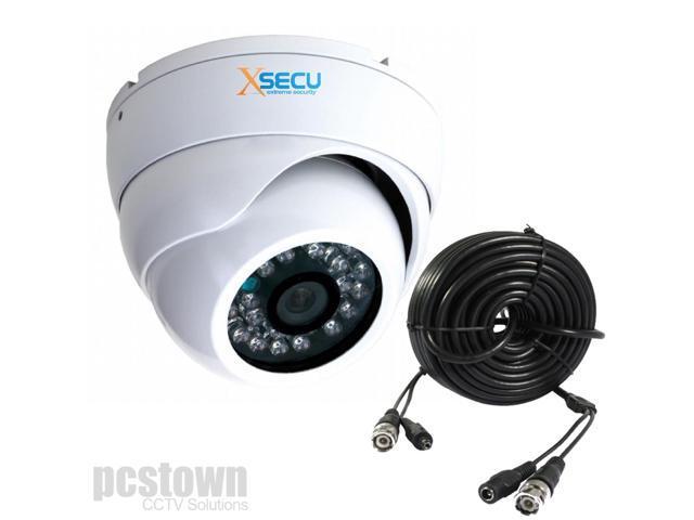 CCTV 800TVL Weatherproof Dome Camera With IR Cut up to 65' IR Night Vision + 60' Cable