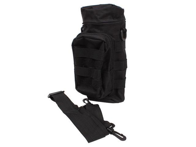 Outdoor Molle Tactical Water Bottle Bags Kettle Pack With Shoulder Strap Black