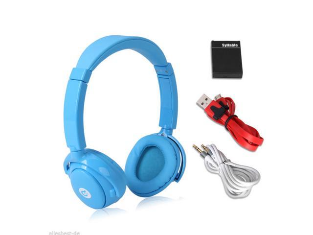 Syllable wireless bluetooth headphone noise reduction headsets for iphone 4 5 samsung cellphone with microphone blue