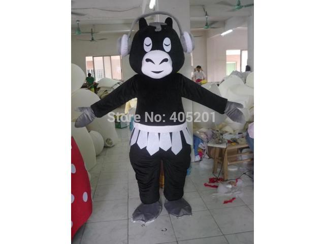music black cattle mascot costumes earphone