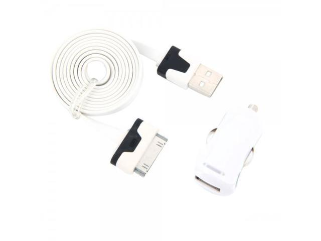 Colorful Mini USB Car Charger with Universal 6-Pin Flat Data Cable for iPhone/iPod/iPad White