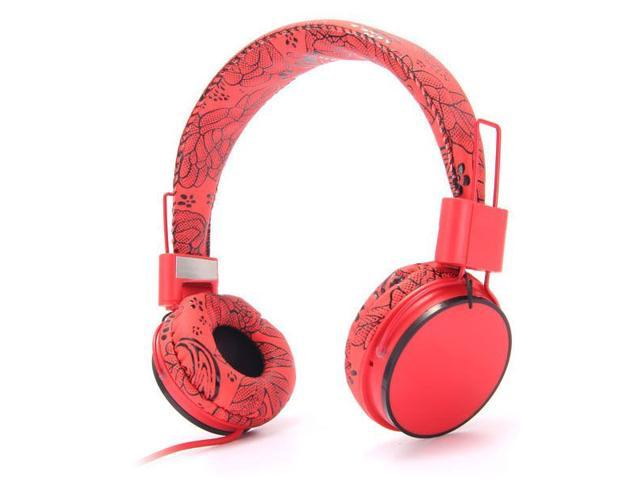 Stylish Flower Love Pattern EP05B On-Ear Stereo Wired Headset Headphone with Mic Microphone for PC MP3 MP4 iPod iPhone iPad Tablet- Red