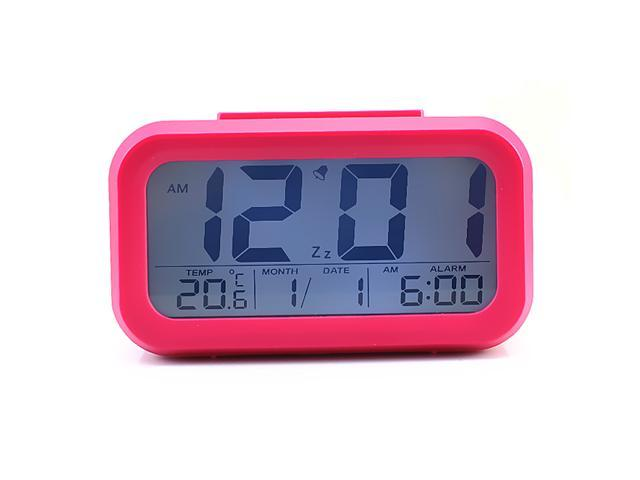Multi-function LCD Large Screen Digital Alarm Clock Date and Temperature Display, Repeating Snooze, Light-activated Sensor Light Batteries powered