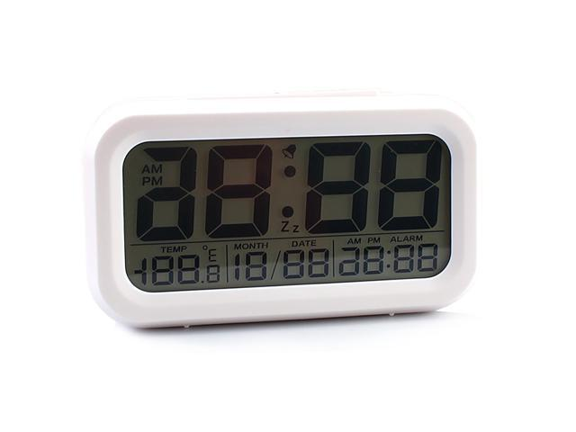 Multi-function LCD Large Screen Digital Alarm Clock Date and Temperature Display, Repeating Snooze, Light-activated Sensor Light Batteries ...