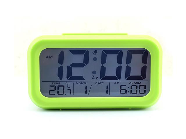 Multi-function LCD Large Screen Alarm Clock Date and Temperature Display, Repeating Snooze, Light-activated Sensor Light Batteries powered Green