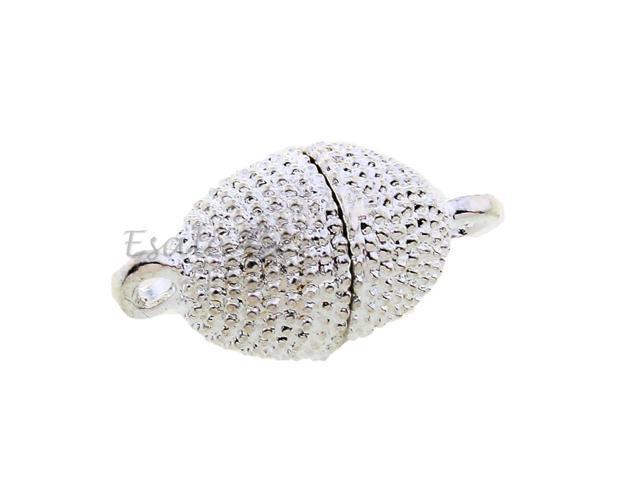 10 Alloy Magnetic Hematite Necklace Clasps Hooks Connectors Silver Tone