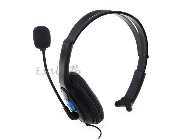 Wired Chat Headset Headphone Microphone for Sony Playstation 4 PS4 Black