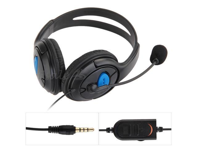 Wired Gaming Chat Headset Headphone Microphone for Sony Playstation 4 PS4 Black