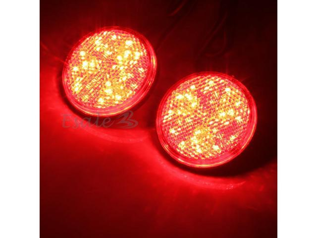 2x Car Auto Vehicle Red Round Brake Stop Tail Rear Light Lamp Bulb High Power