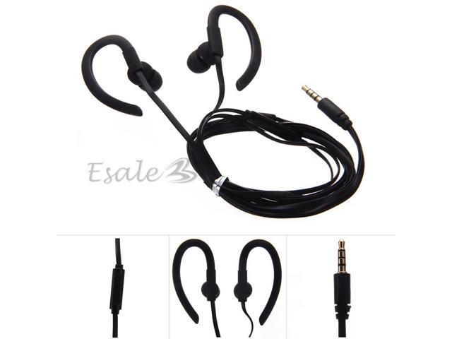 3.5mm Earhook Sport Stereo Headphone Earphone with Mic for Phone MP3 Black
