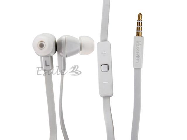 Mosidun In-ear Earphone with MIC Volume Control Noodle Style for iPhone White