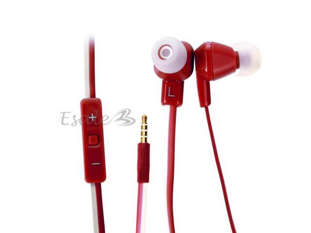 Mosidun In-ear Earphone with MIC Volume Control Noodle Style for Samsung Red
