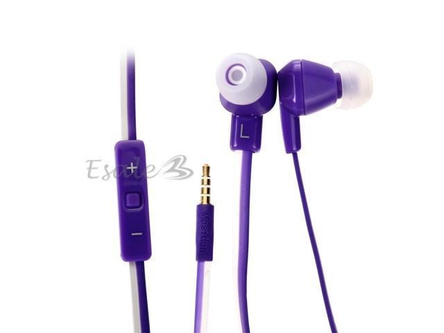Mosidun In-ear Earphone with MIC Volume Control Noodle Style for Samsung Purple