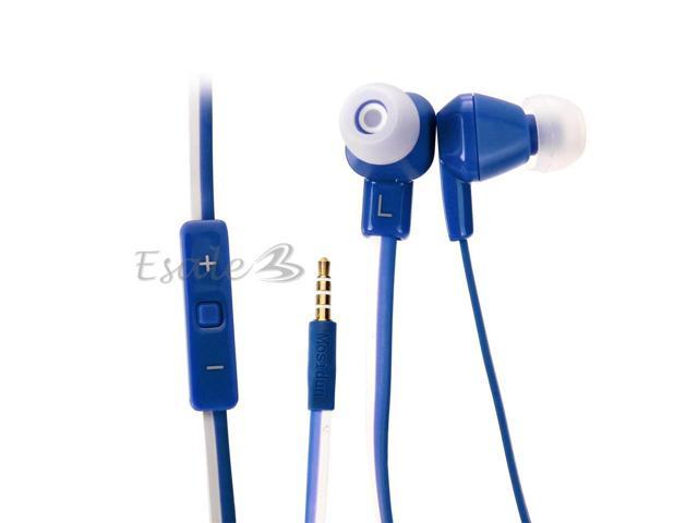 Mosidun In-ear Earphone with MIC Volume Control Noodle Style for Samsung Blue