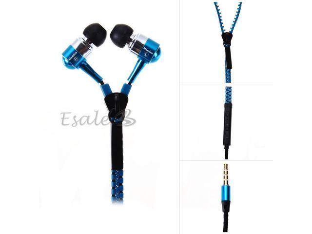 Mosidun In-ear Earphone with MIC Volume Control Zipper Style for Samsung Blue