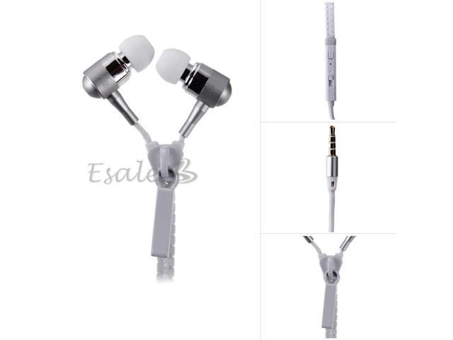 Mosidun In-ear Earphone with MIC Volume Control Zipper Style for Samsung White