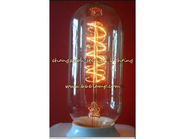 GOOD!Yellow feet clear light long tube type Edison lamp bulbs 220V 40W E27 T45X110 AD012
