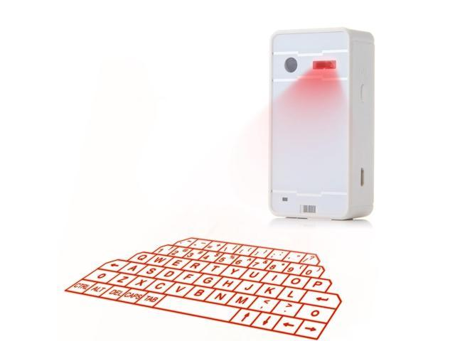 F1A Mini Virtual Laser Keyboard Wireless Bluetooth Projection for PC Smartphone White