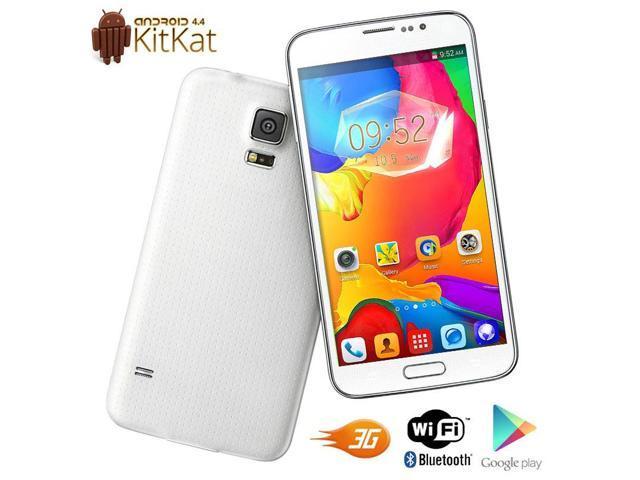 NEW G900w White 3G Smart Phone Android 4.4 Dual SIM WiFi Bluetooth GSM Unlocked