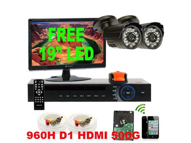 GW 4 Channel 960H & D1 Realtime H.264DVR Security Camera System with 2 x 1/3