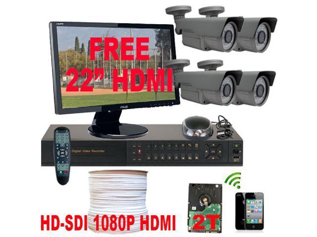 HD-SDI 1080P 4 Channel HD DVR CCTV Kit 2TB HDD 4 High Definition 2.1 Megapixel Varifocal Lens Security Camera System Surveillance Package ...