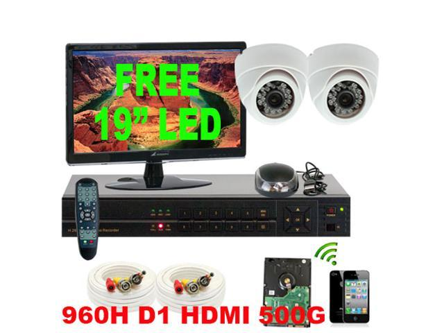 4 Channel H.264 960H & D1 Realtime DVR Security Camera System with 2 x 1/3