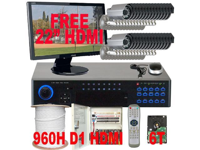 GW 32 Channel Real Time 960H DVR Kit CCTV Surveillance Package (6TB HDD) + 32 Panasonic CCD 700 TV Lines Water Proof Security Camera System, ...