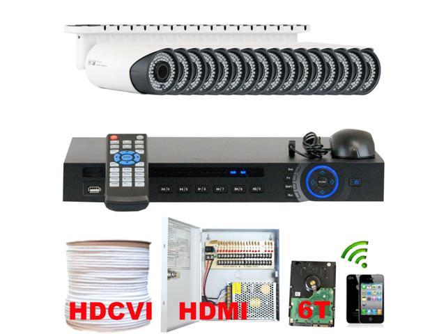 Professional 16 Channel HD-CVI DVR Security Camera System with 16 x 1/2.9 HDCVI Color IR CCTV Security Camera, 1.0Mega pixel Color CMOS, 2.8-12mm ...